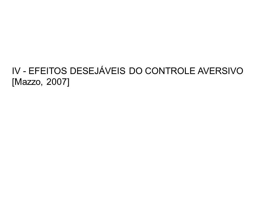 IV - EFEITOS DESEJÁVEIS DO CONTROLE AVERSIVO [Mazzo, 2007]